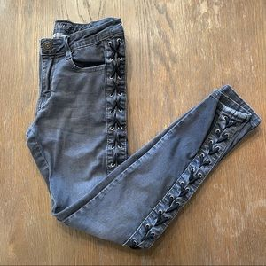 Machine Lace Up Sided Gray Jeans